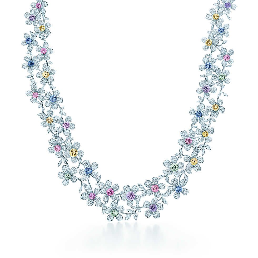Tiffany & Co. -  Sapphire Wildflower Necklace - platinum with fancy color sapphires and diamonds