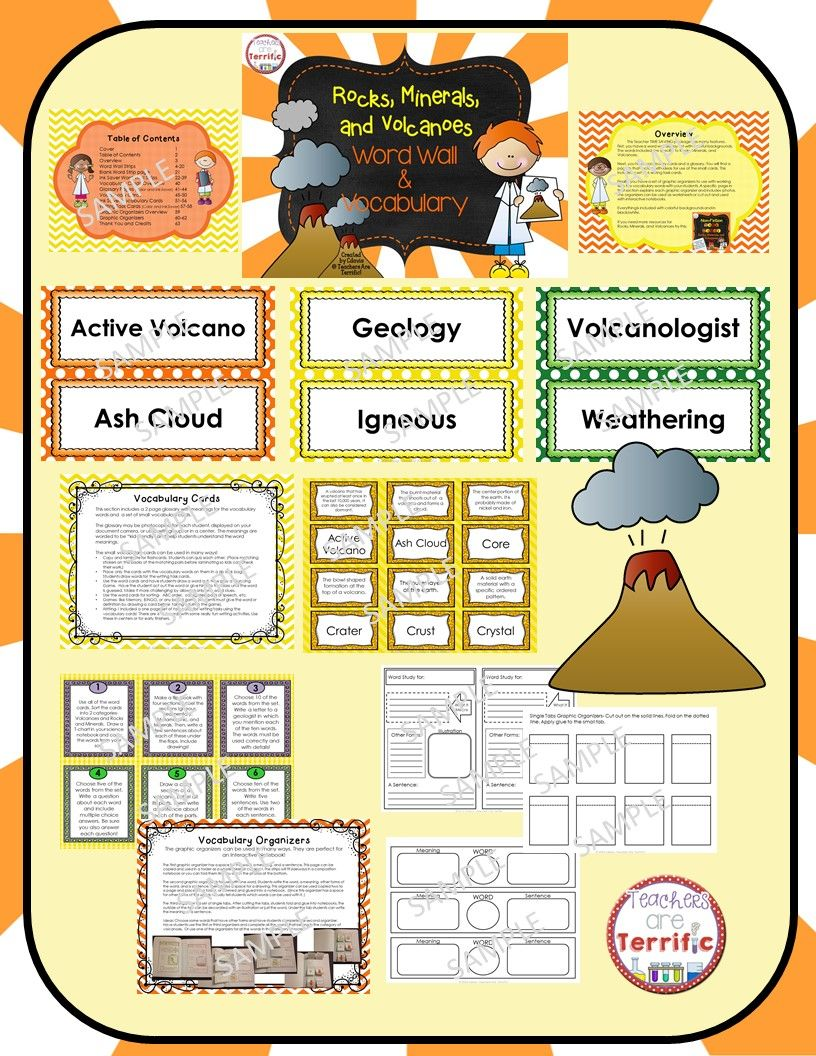Rocks, Minerals, and Volcanoes Vocabulary | Pinterest | Vocabulary ...
