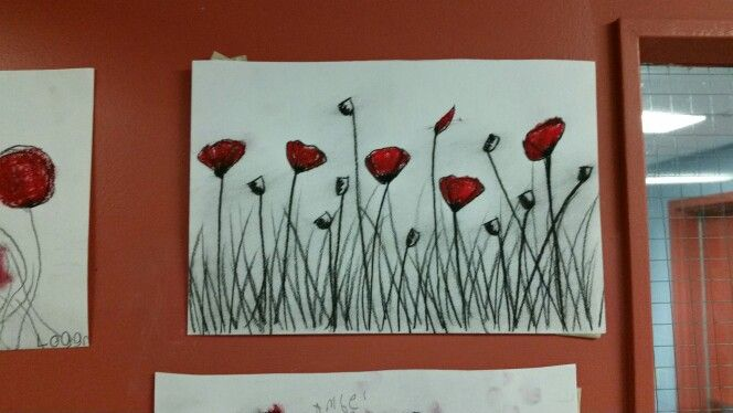 Charcoal  and oil pastel poppies