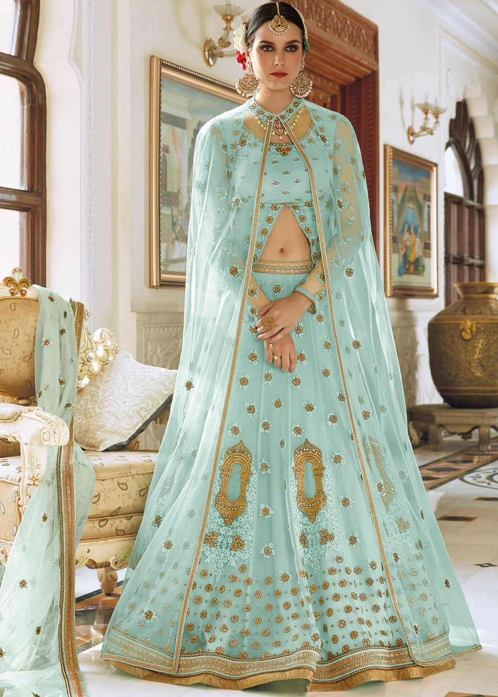 15dc4fcec7f Sky Blue Net Embroidered Lehenga Choli With Long Jacket Lehenga 1562LG02