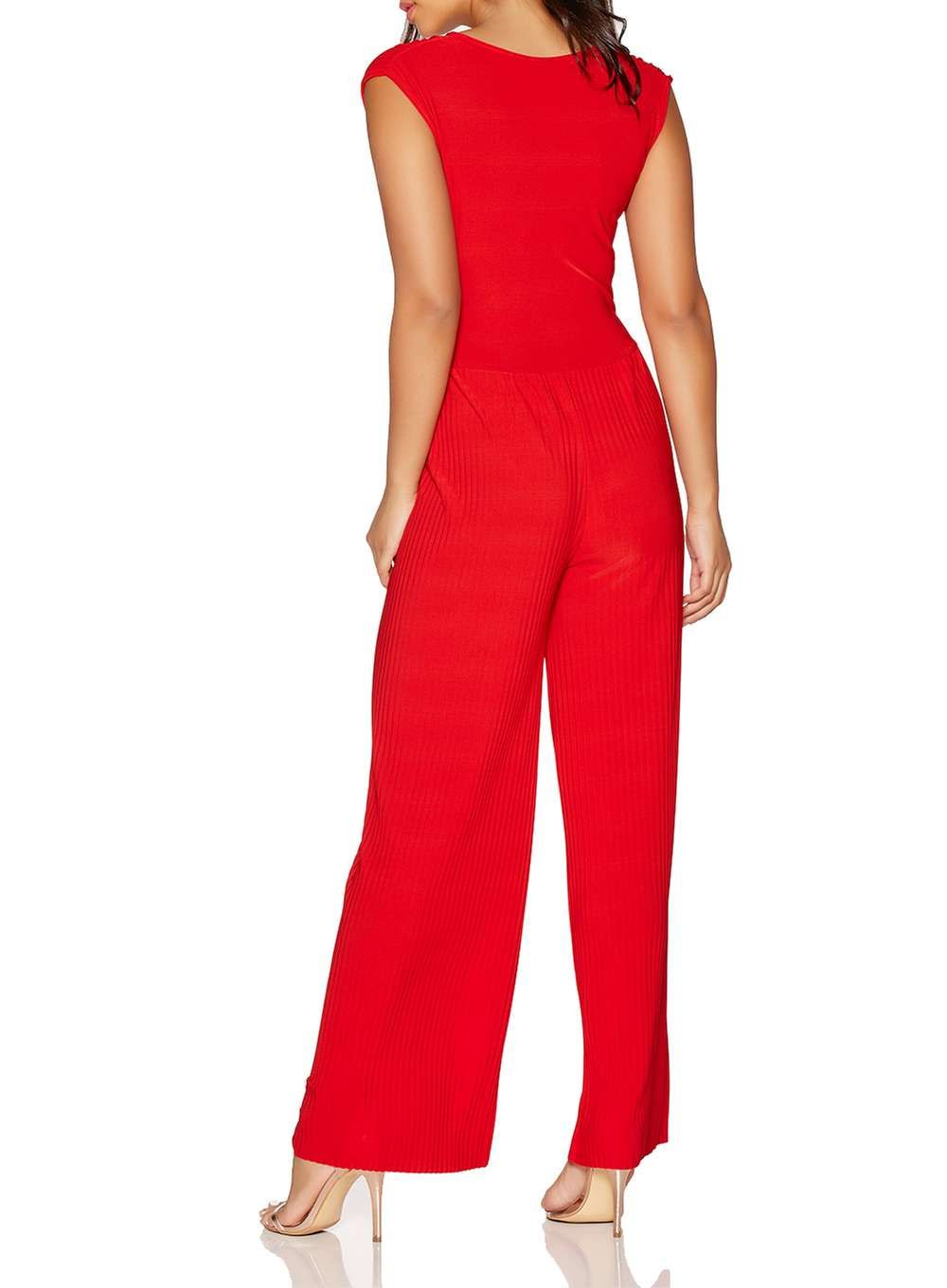 Womens quiz red vneck pleated jumpsuit red pleated jumpsuit and
