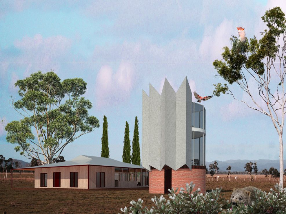 Flying Spur by WOWOWA Rammed Earth base to glass tower on a farm with perf mesh sun shades - shape reminiscent of a farm water tower. Renovation to existing farm house