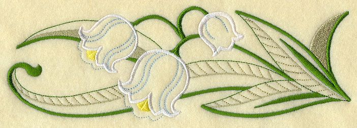 Lily of the Valley Border (Vintage). Machine embroidery 23*8 cm. 4.99 USD