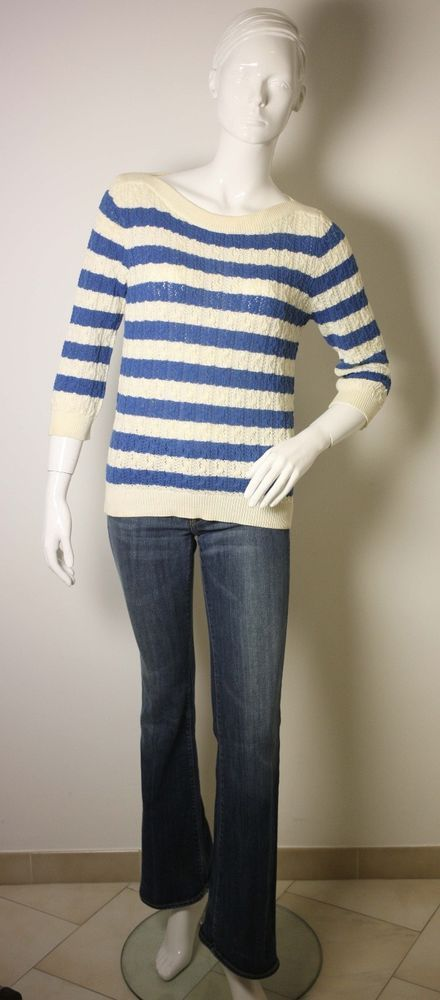 """7 FOR ALL MANKIND JEANS W26""""-REISS BLUE WHITE SWEATER-UK 8/10-USED-FREE POSTAGE #7ForAllMankind #Bootcut"""