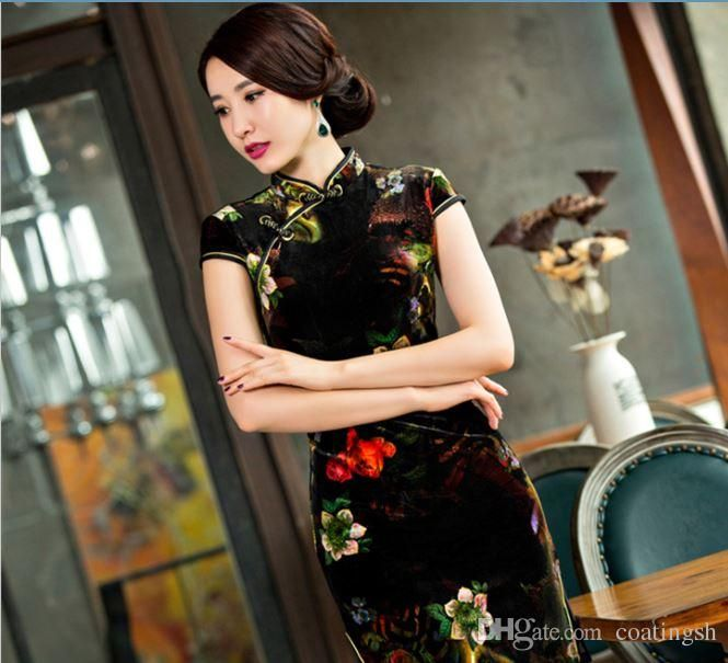 3e85f0db8794b Chinese Cheongsam Black Flowers Acrylic Fibres Qipao Knee Length Short  Sleeve Printed Elegant Dress From Coatingsh