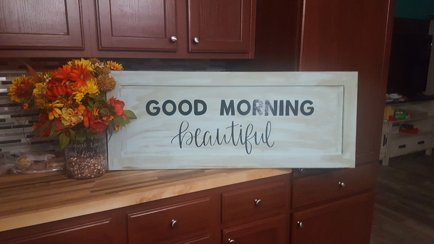 Good Morning Beautiful- Love Sign - Repurposed Cabinet Door - Wood ...