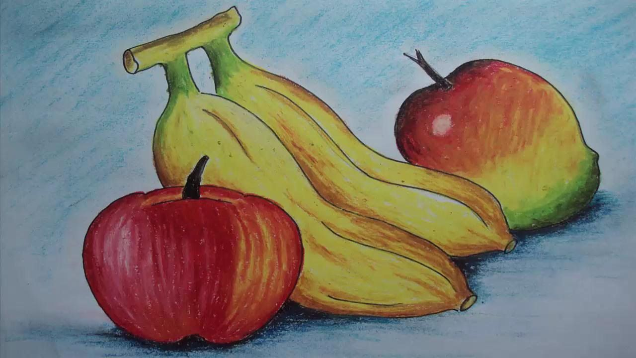 How To Draw Fruits With Oil Pastel Kids Oil Pastel Drawings Easy