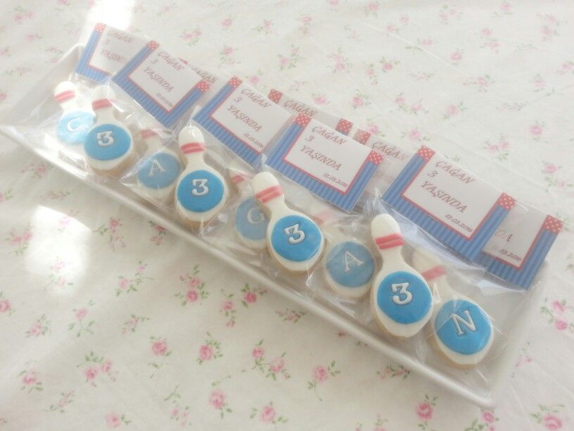 Bowling cookies for 3rd birthday
