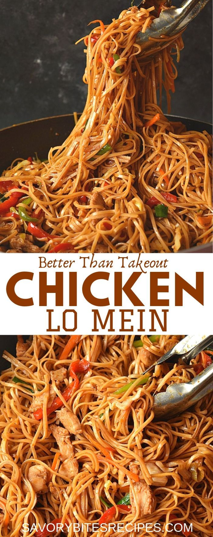 Better than takeout Chicken Lo Mein recipe,which you are going to love as its easy,delicious and totally under 30 mins with veggies,lo mein sauce,chicken and egg noodles, makes the this lo mein recipe better than any Chinese takeout dish!  #savorybitesrecipes #chickenlomein #easyrecipe #dinnerrecipes #noodles #chinesefood #betterthantakeout #restaurantstyle #easy #chinese #chicken #lomein