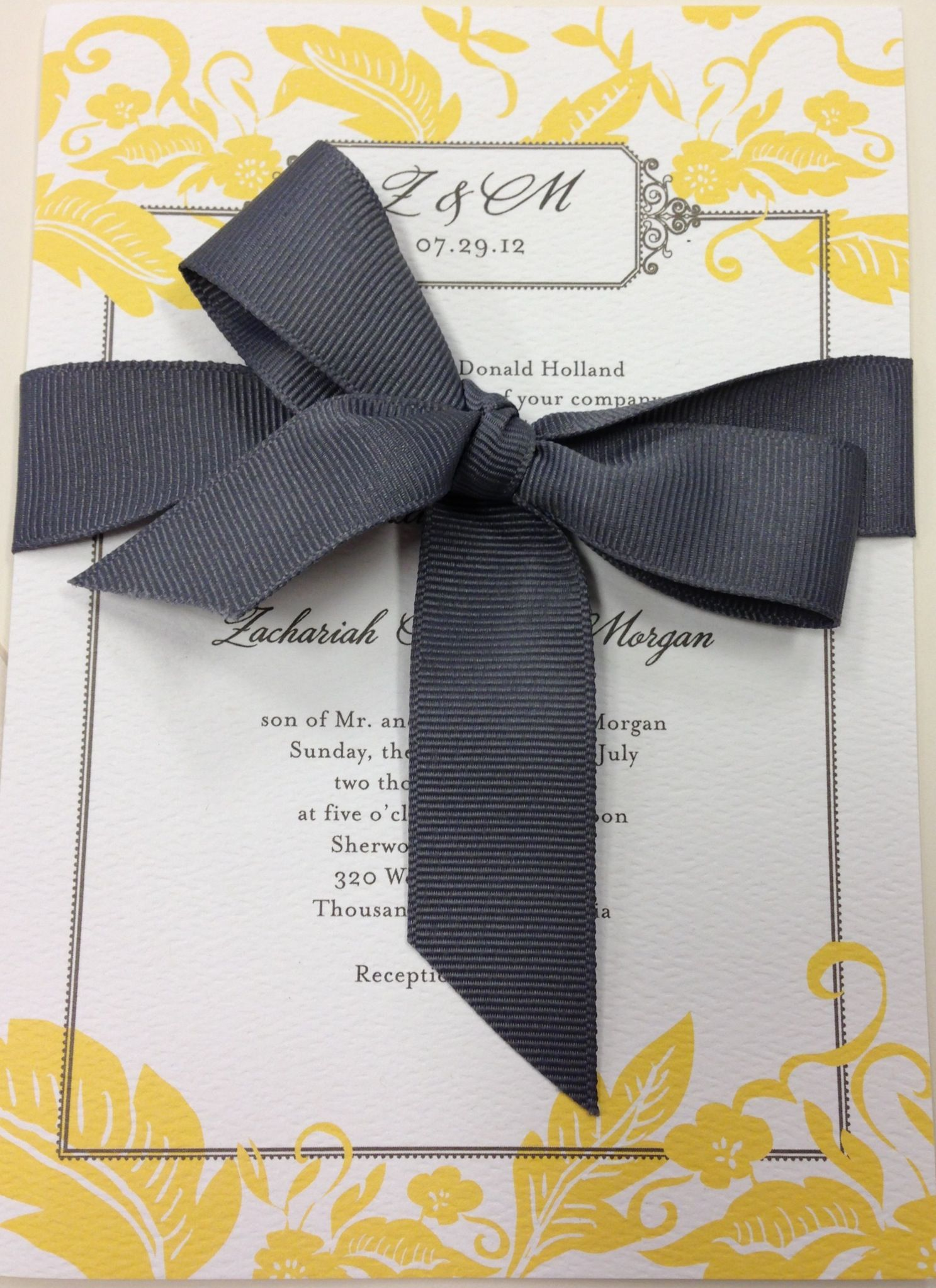 tie ribbon wedding invitation%0A Grey and yellow wedding