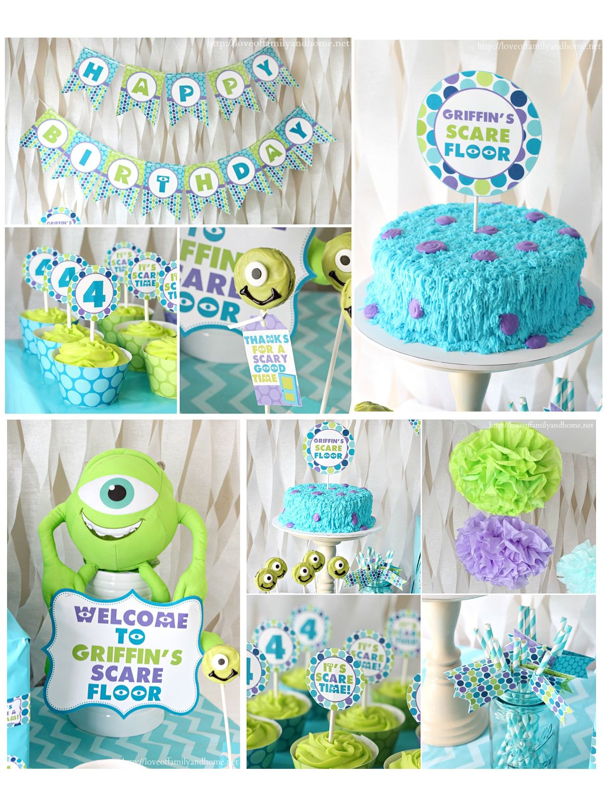 Monster inc printable party package personalized