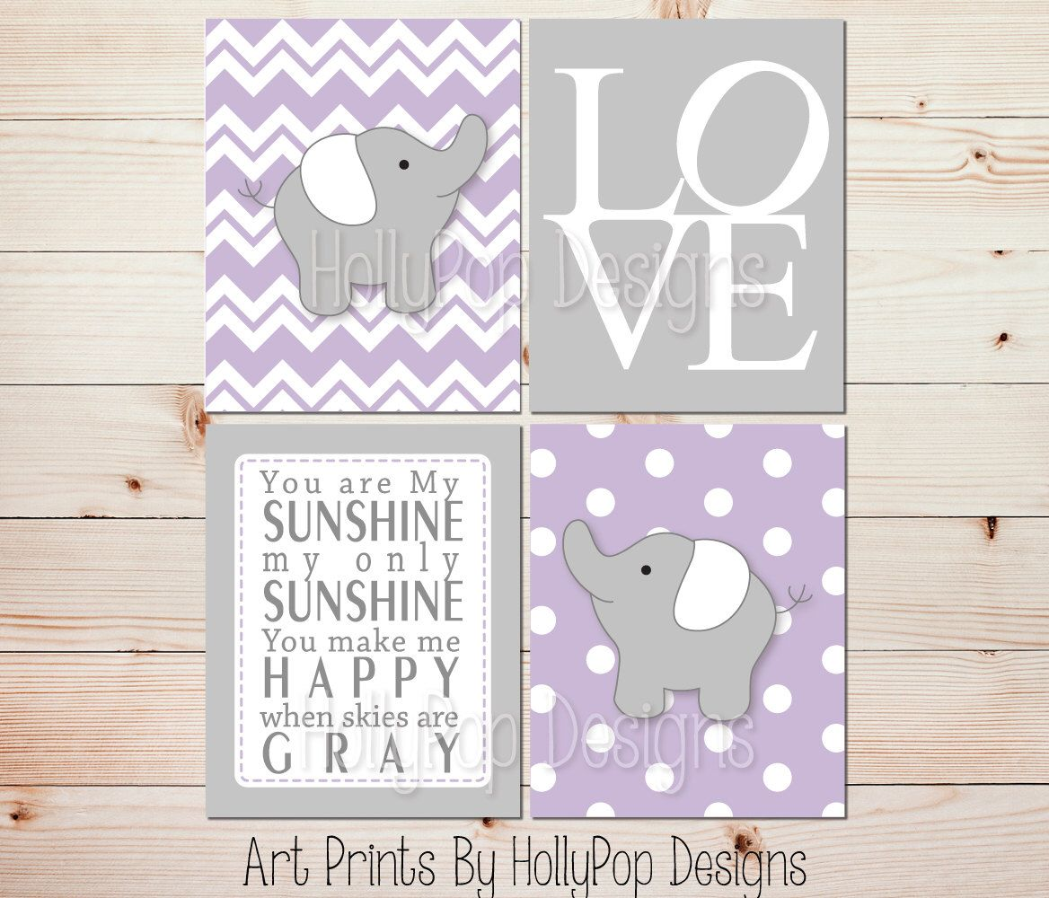Elephant nursery wall art print mom baby dad by rizzleandrugee - Girls Room Decor You Are My Sunshine Kids Room Wall Art Purple Gray Nursery Wall Prints Baby Wall Prints Kids Room Decor Elephant Art