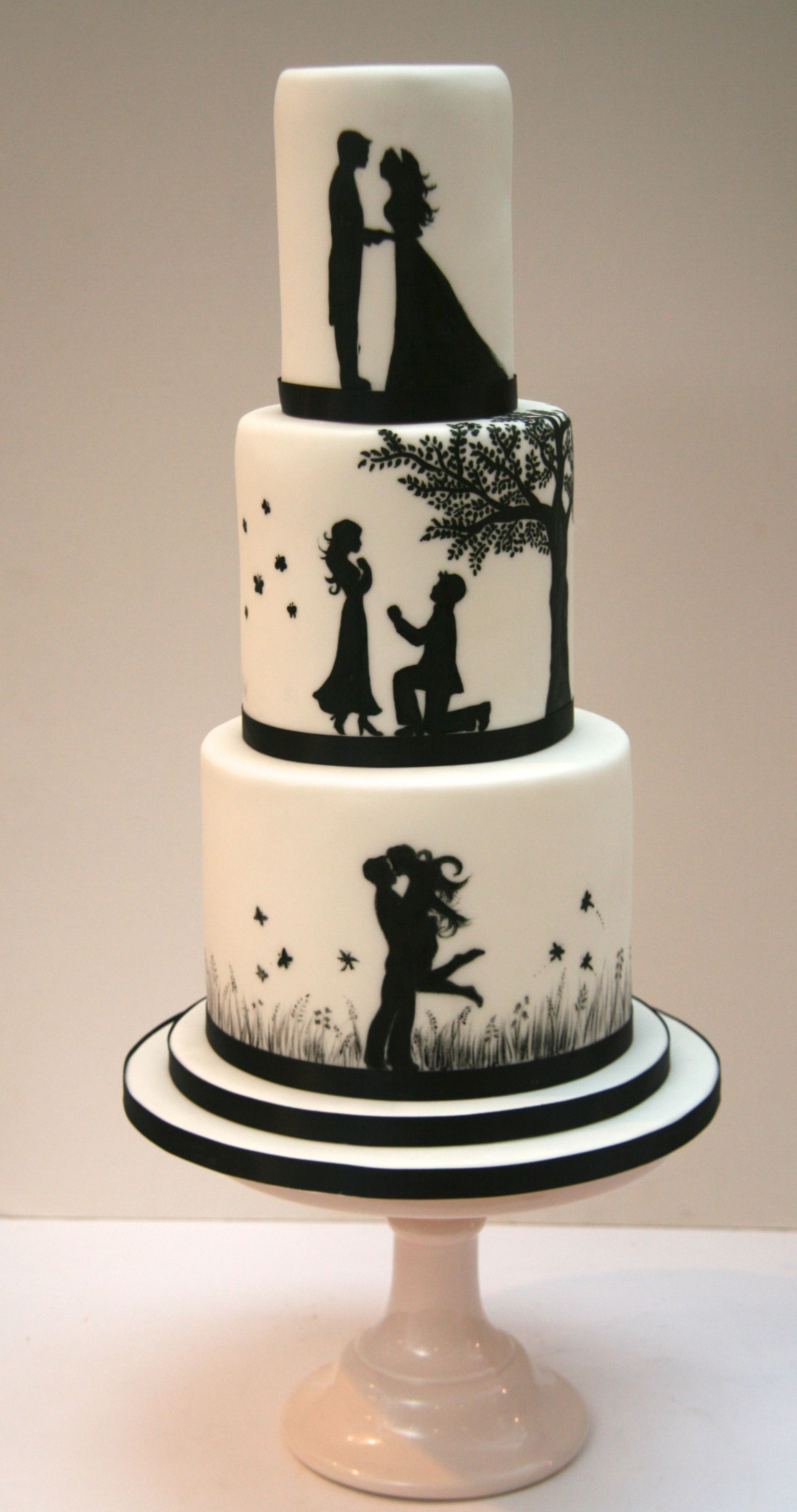couple wedding cake silhouette wedding cake etoile bakery 13016