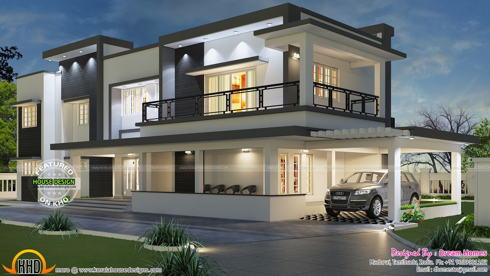 Modern flat roof house in tamilnadu house elevation for Contemporary villa plans