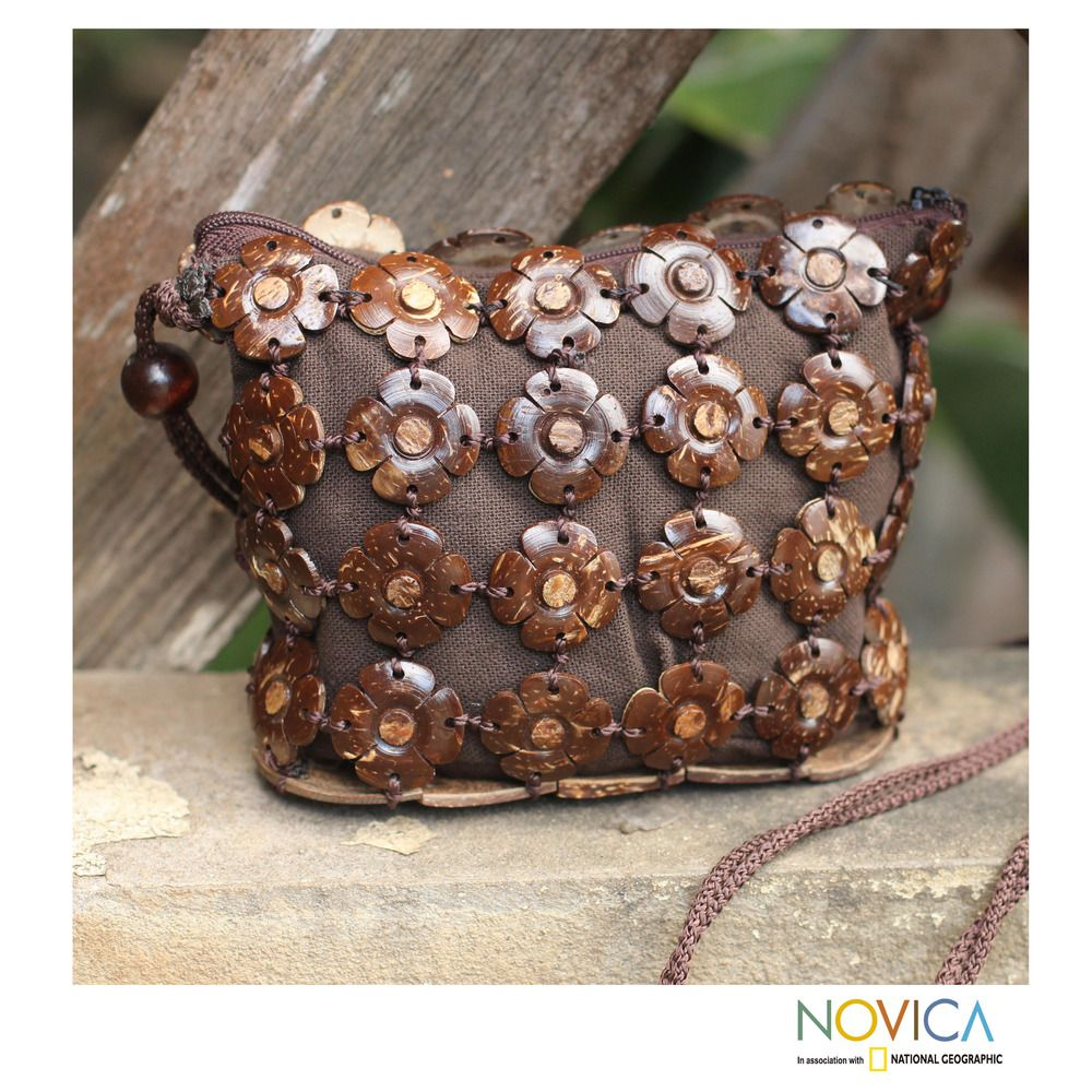 Novica Coconut shell shoulder bag, Earth Roses - Handcrafted Coconut Shell Sling Handbag
