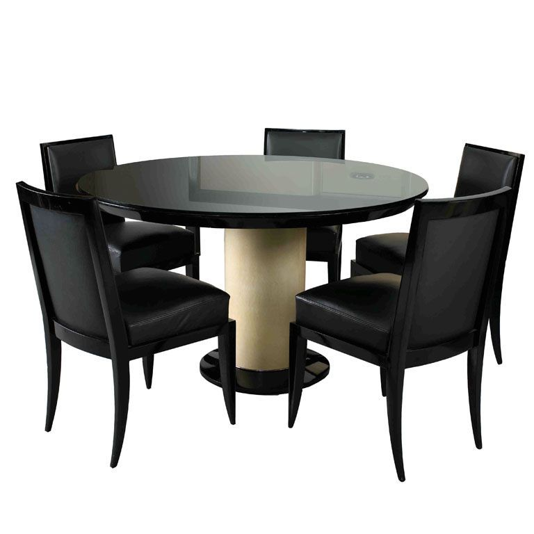 Jacques Art Deco Dining Table and Six Chairs