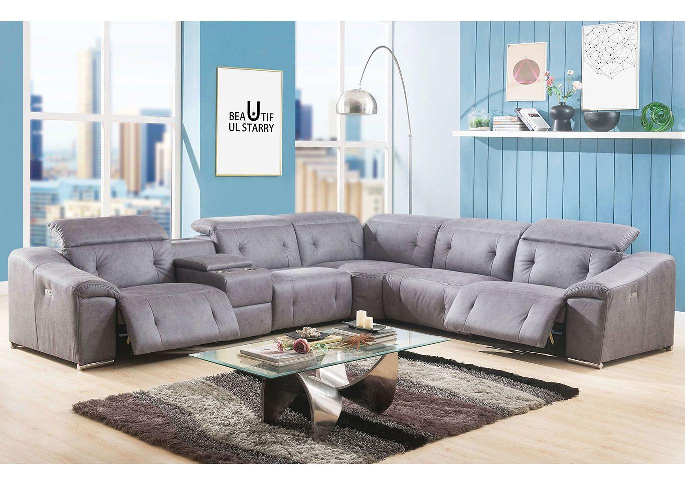 Hosta Gray Microfiber Sectional Sofa | Designing Our Dream ...