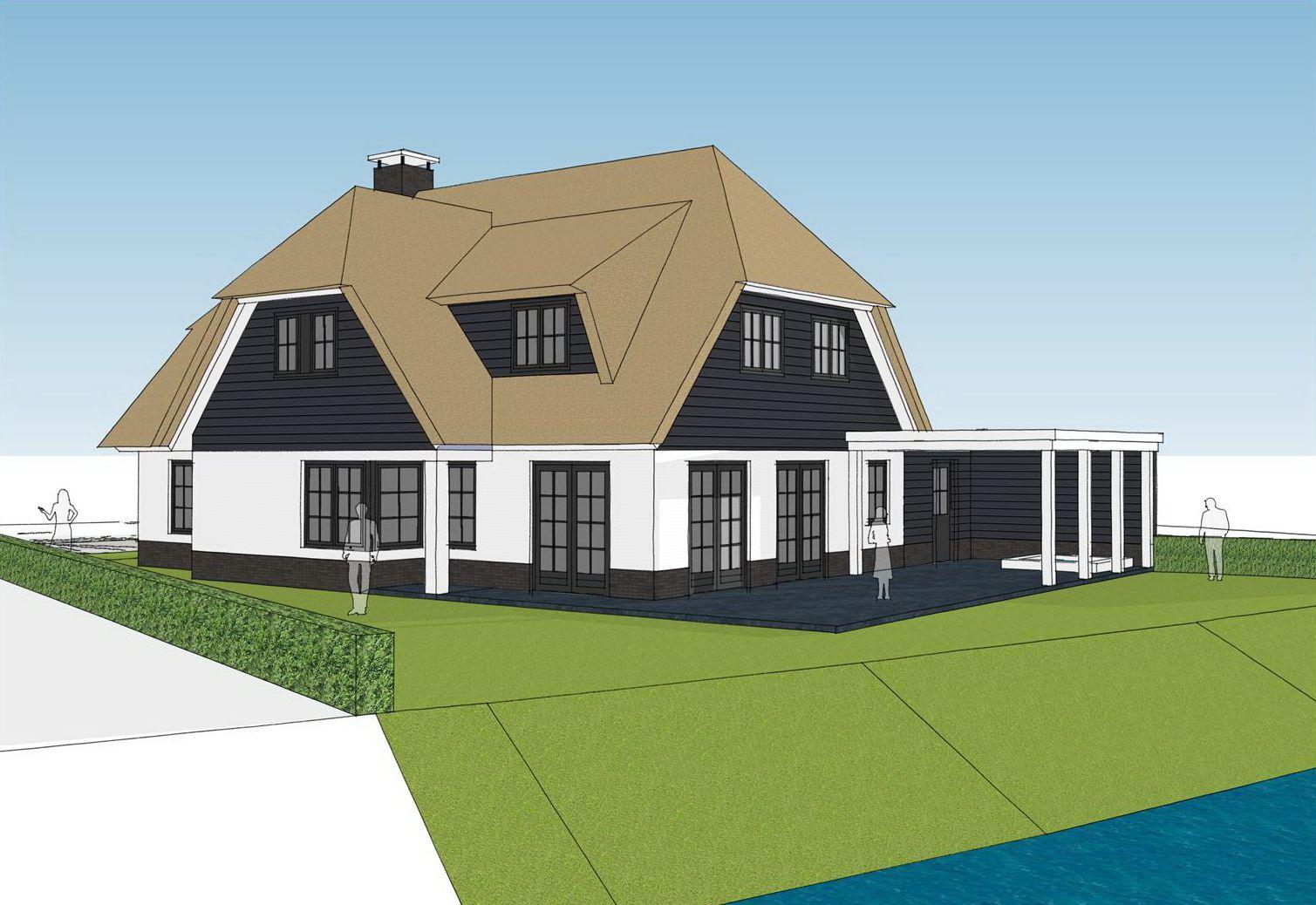 Landelijke woning wit gekeimd met riet en veranda Hendrik-Ido-Ambacht Brand BBA Architecten