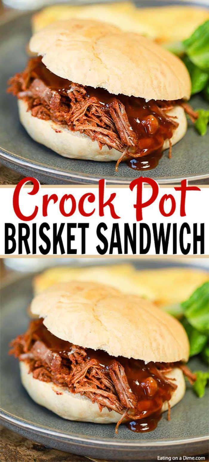 Crock Pot Brisket Sandwich Recipe - Slow Cooker Beef Brisket Recipe