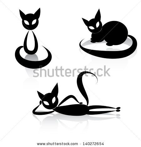 Black cat icon silhouette collection. Vector animal set sketch kitty logo isolated on white.  Raster version. by Sweet Lana, via ShutterStoc...