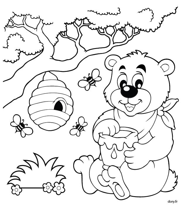 Dessin à imprimer et à colorier, un ourson, des abeilles et un pot de miel | Bricolage enfant ...