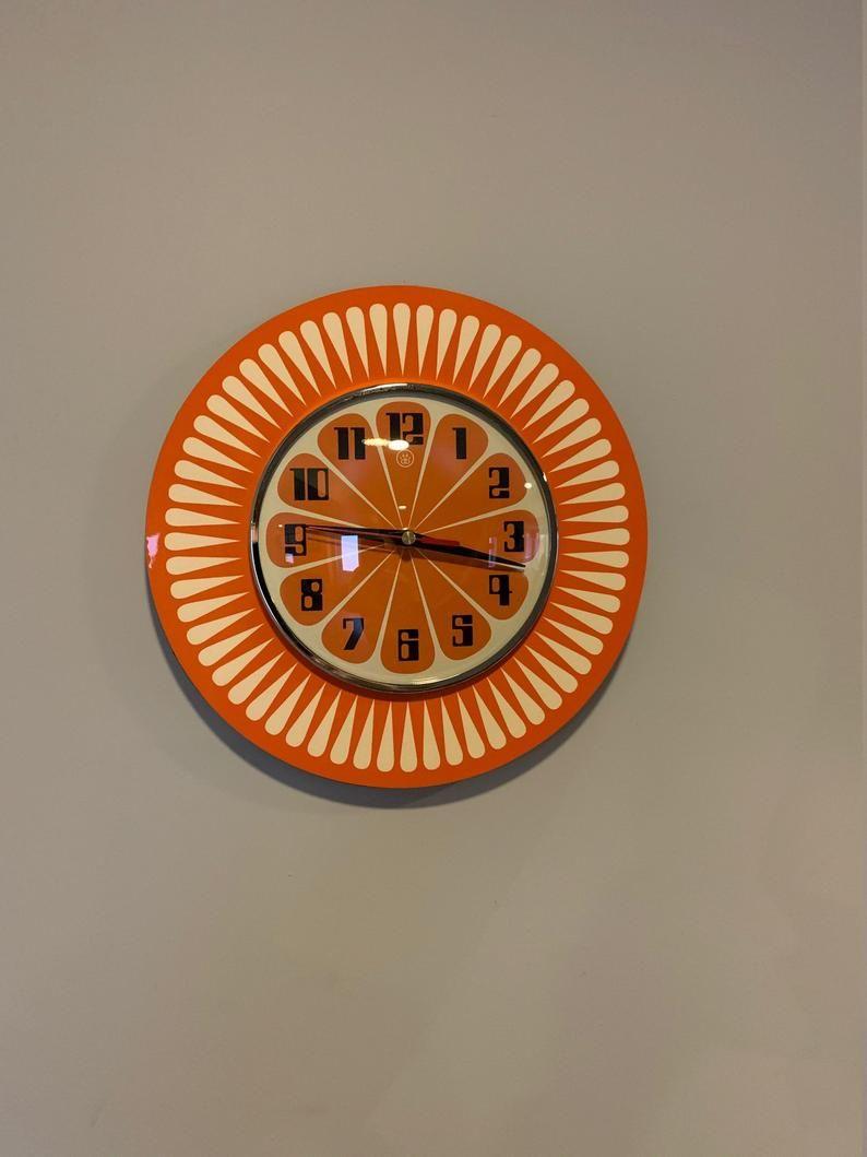 Handmade 1970's style Sunburst Orange Formica Wall Clock