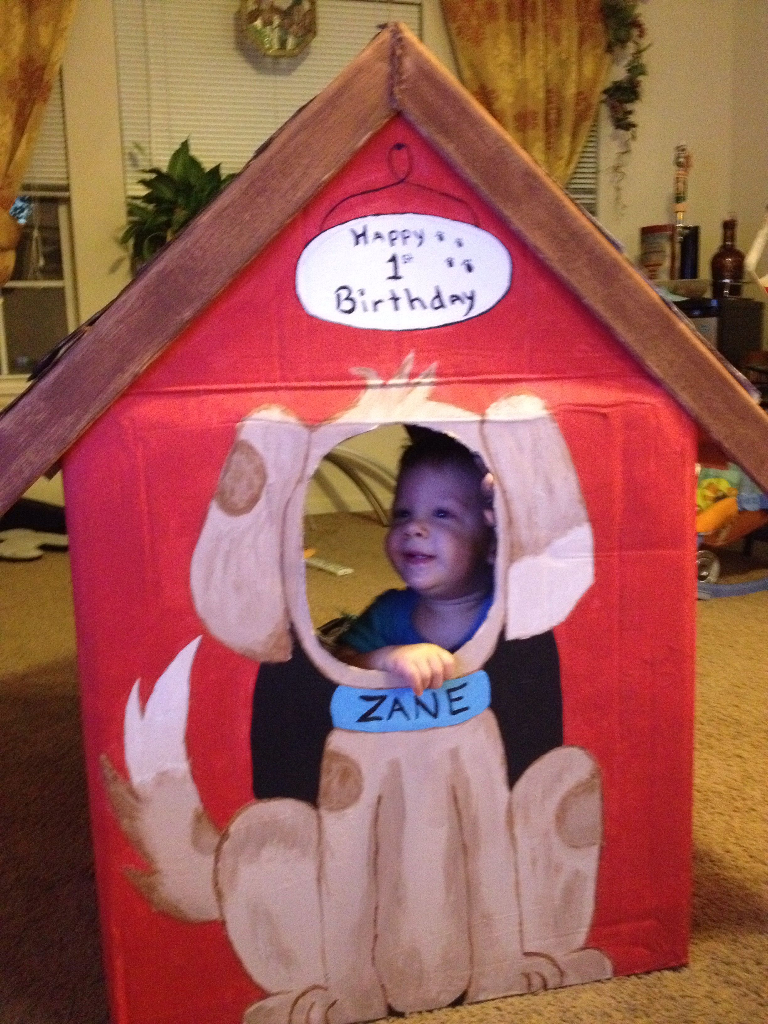 Cardboard Dog House 1st Birthday Photo Prop For Puppy