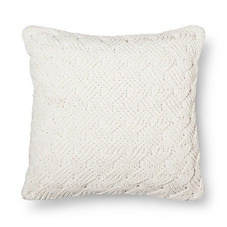 Throw Pillow Chunky Chenille Oversized Cream Ivory 24x24 Threshold