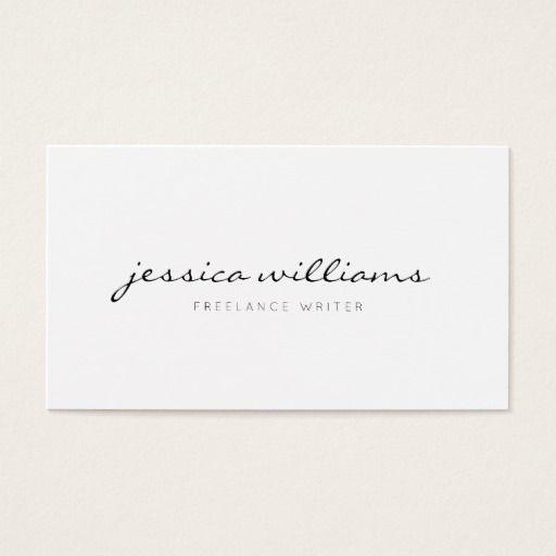 Minimalist Modern Handwritten Professional White Business Card