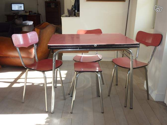 Ensemble Table Et Chaises Formica Mdj Vintage 50 Ameublement