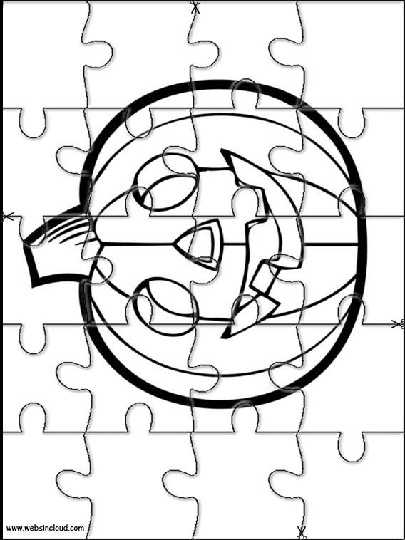 Printable jigsaw puzzles to cut out for kids Halloween 23 Coloring