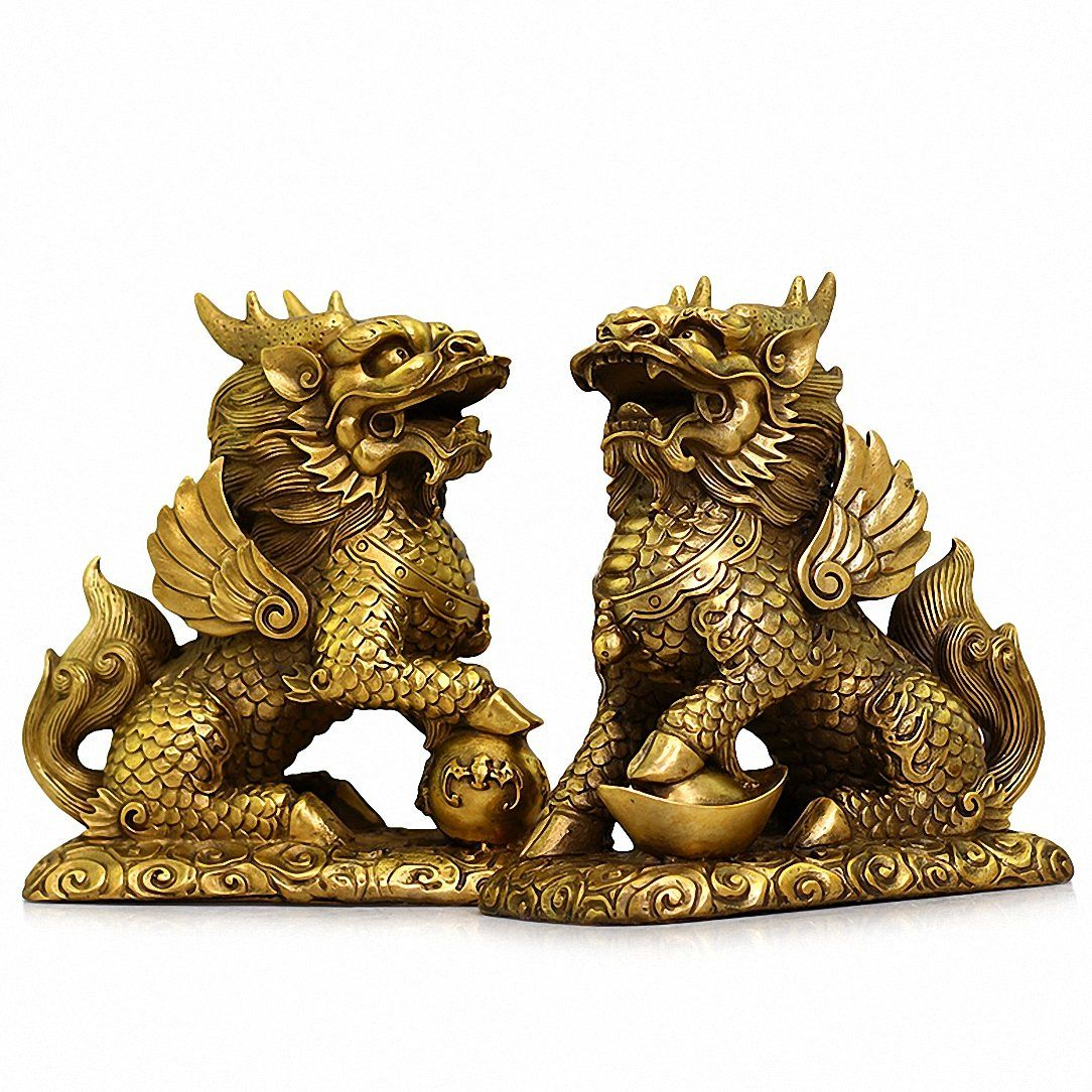 Feng shui set of two golden brass chi linkylin wealth prosperity feng shui set of two golden brass chi linkylin wealth prosperity statue chinese biocorpaavc Images