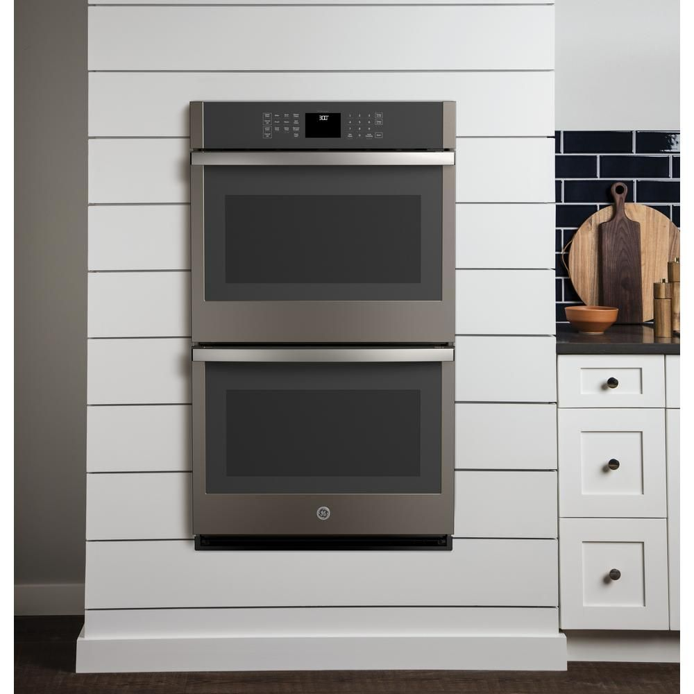 Ge 30 In Smart Double Electric Wall Oven Self Cleaning In Slate