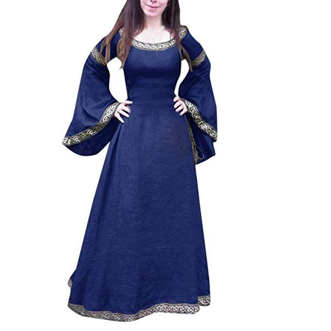 10e123c8 Cinnamou Disfraz Mujer Medieval Vestido Maxi de Princesa Elegantes ...