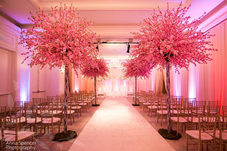 Pink Cherry Blossom Tree Wedding Ceremony In A Ballroom Edge