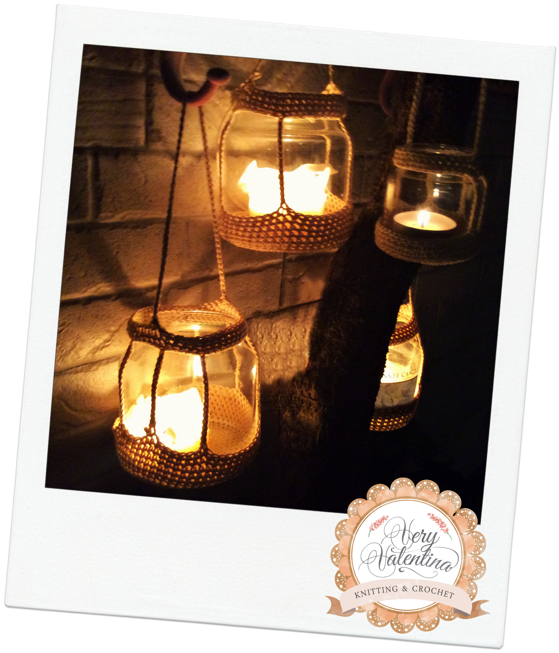 Crochet recycling yankee candle jar lantern home decor crochet