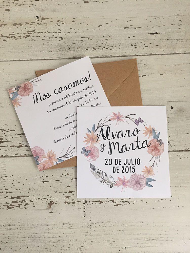 Invitaci n de boda boho chic cuadrada de 14x14 ideal para - Bodas sencillas y romanticas ...