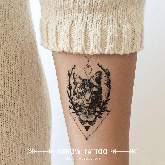 tatouage tribal de chat motif tatouage temporaire par arrowtattoo