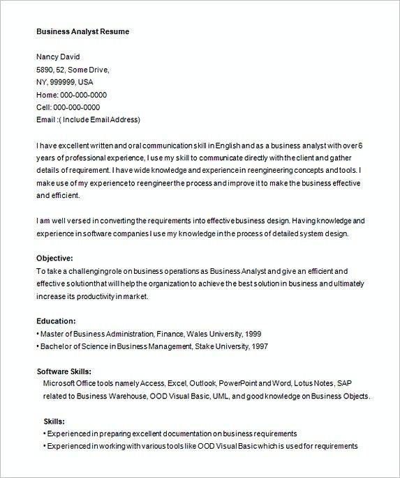 It Analyst Resume Free Business Analyist Resume Template  Analyst Resume Examples .