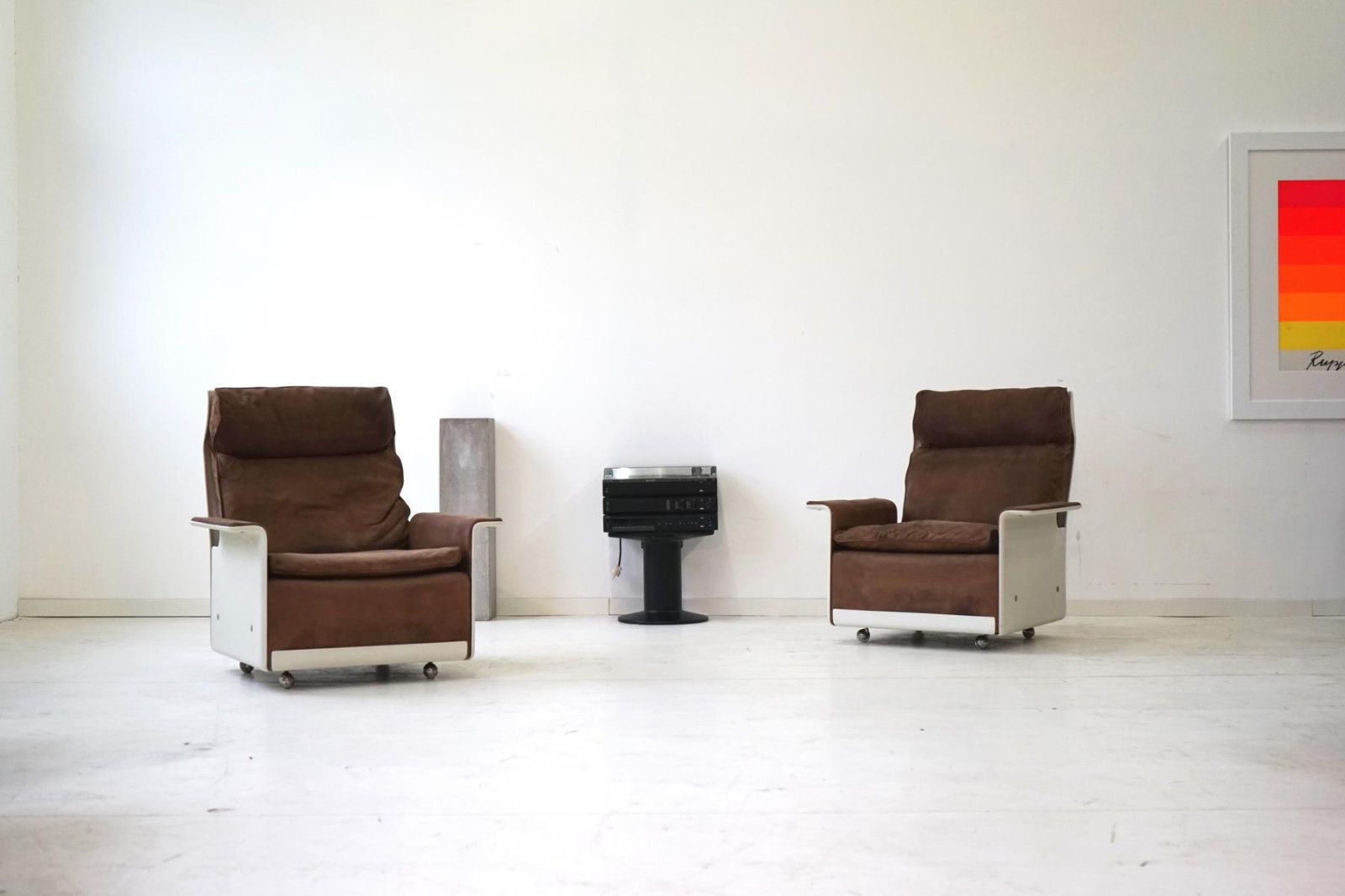 Set Of 2 Sessel Lounge Chair By Dieter Rams Vitsoe RZ 62 620 Leder SDR