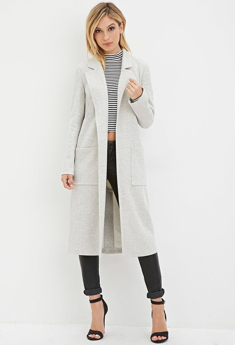 Open-Front Duster Coat - Clothing - 2000147375 - Forever 21 EU ...