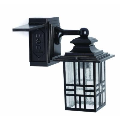 Hampton Bay Mission Style Black With Bronze Highlight Outdoor Wall Lantern Built In Electrical Outlet GFCI