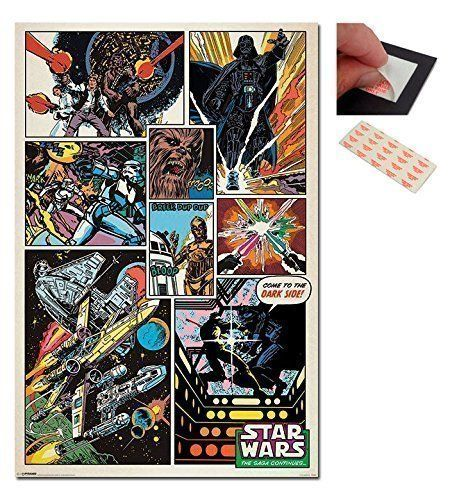Bundle 2 Items Star Wars Retro Comics Poster 91 5 X 61cms 36 X 24 Inches And A Set Of 4 Repositionable Adhesi Star Wars Poster Retro Poster Retro Comic