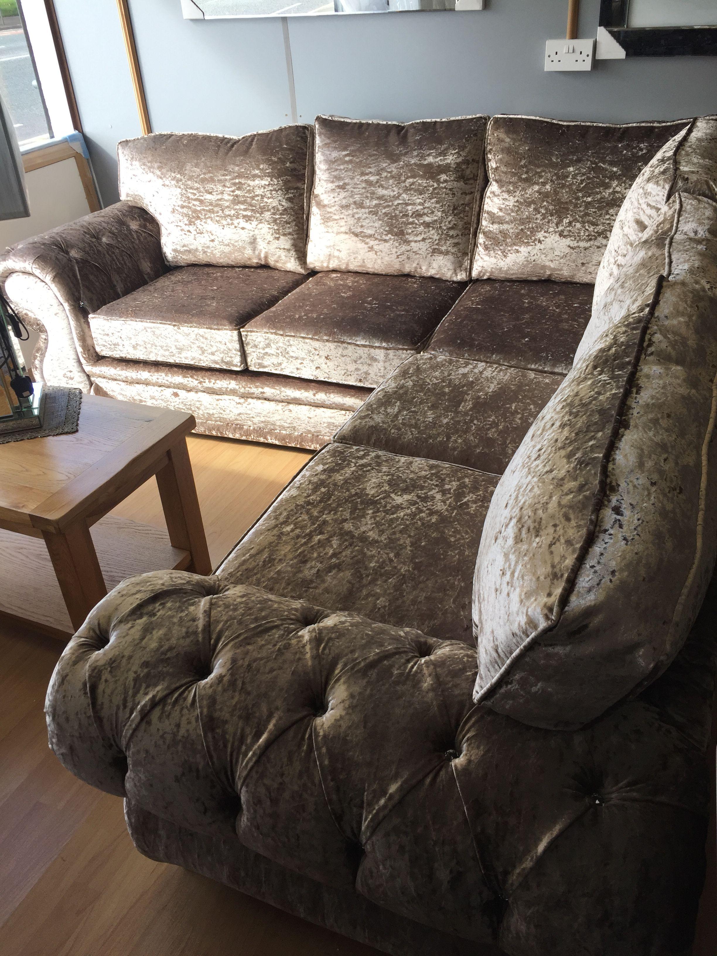 The Louise Crushed Velvet Corner Sofa Velvet Corner Sofa Sofa Set Corner Sofa