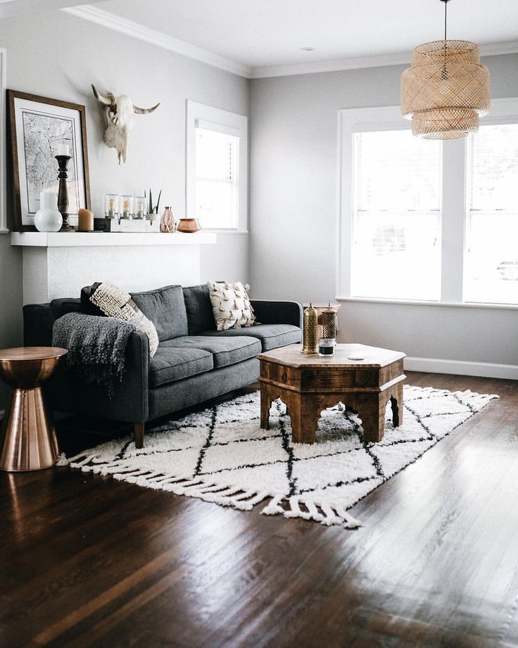 Rustic Eclectic Living Room: Dark Couch Printed Rug Eclectic Living Room. Dark Couch