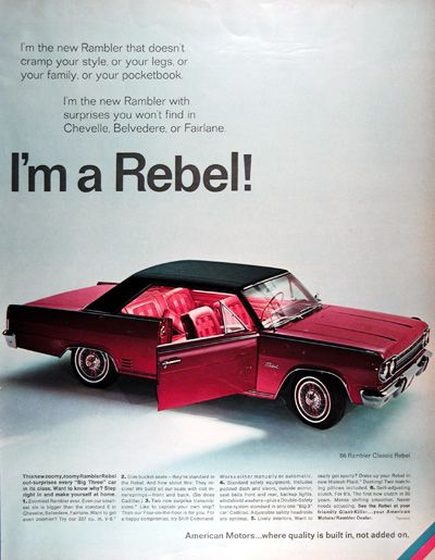 1966 American Motors Rambler Rebel Classic original vintage advertisement. The zoomiest Rambler ever with a 327 cu.in. V8. Slim bucket seats. Choice of two transmissions with a four on the floor. Lively interiors in new Hialeah Plaid including matching pillows. American Motors... where quality is built in, not added on.