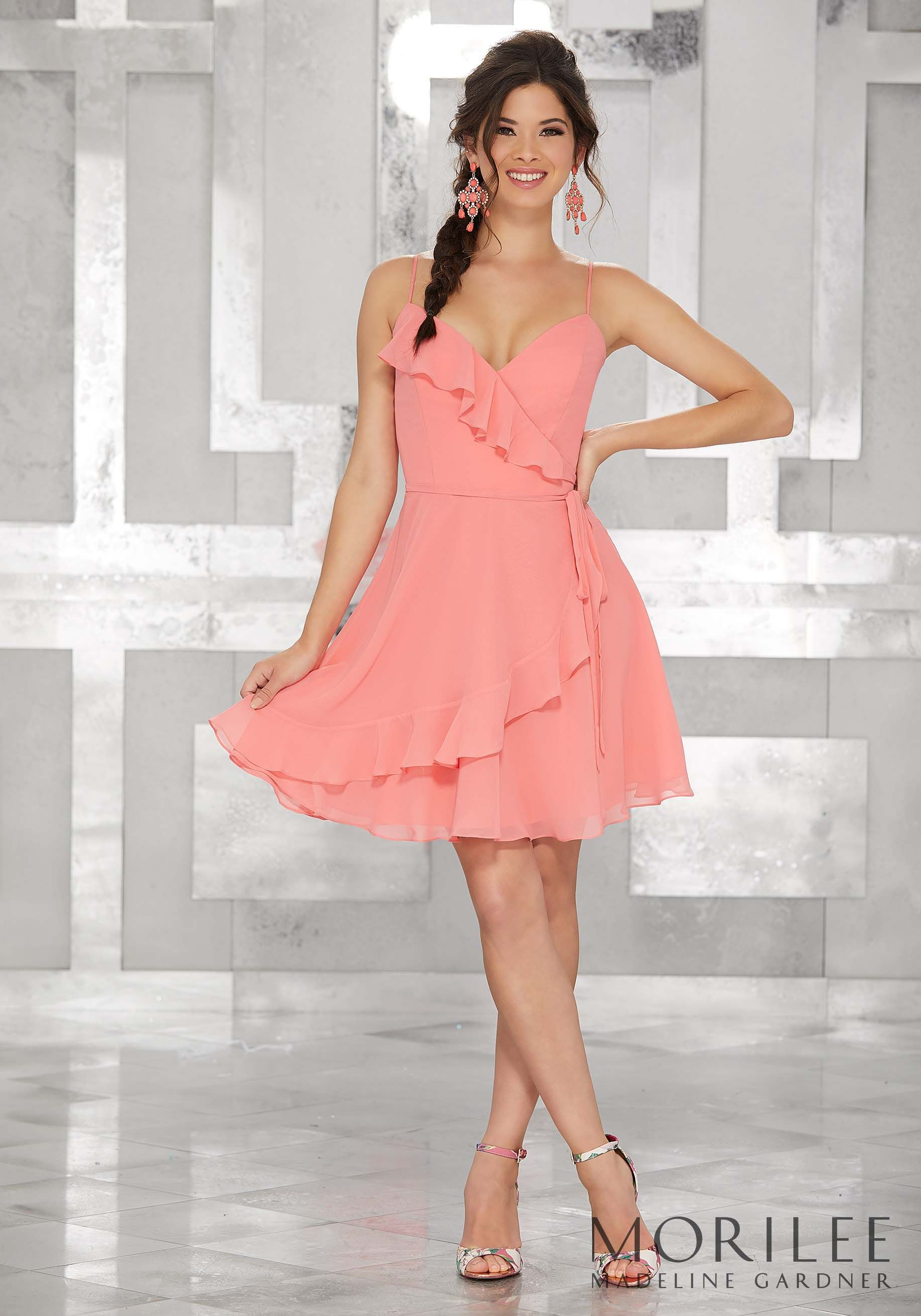 Pink Wrap Style Chiffon Party Dress with Ruffled Neckline. Colors ...