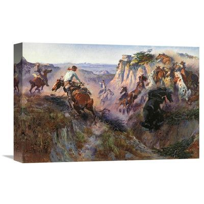 Global Gallery 'The Wild Horse Hunters' by Charles M. Russell Painting Print on Wrapped Canvas Size: