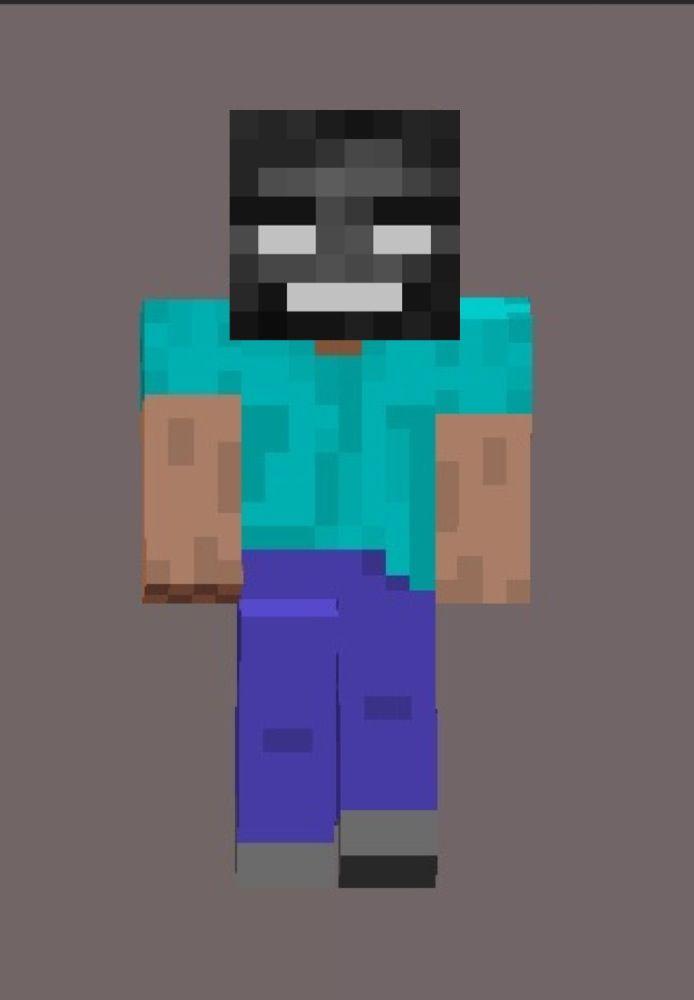 Minecraft Herobrine With A Wither Skeleton Head Minecraft Stuff