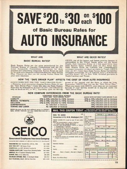"geico insurance employment  | 1962 GEICO Ad ""Save $20 to $30"" 